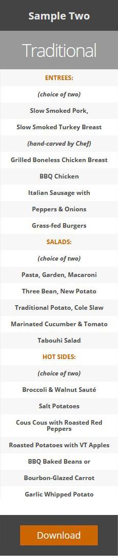 catering menus samples